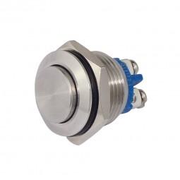 Metalltaster Einbau-Ø 16 mm Edelstahl hochflach Drucktaster Schliesser