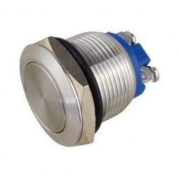 Metalltaster Einbau-Ø 19 mm Edelstahl. Kopf bündig, flach. Drucktaster Schliesser