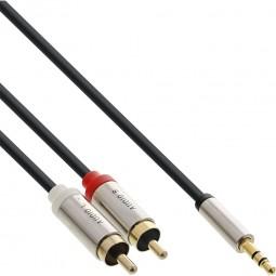 1m Adapterkabel InLine® Slim Audio Kabel 3,5mm Klinke Stecker -> 2 x Cinch Stecker   Stereo