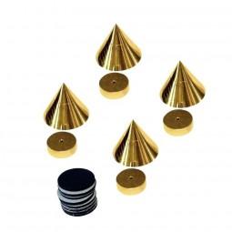 Dynavox 4er Set Absorber Messing Spikes Noisekiller | Boxenfüße Farbe Gold