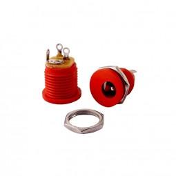 DC-Einbaubuchse rot für Hohlstecker 2,1 x 5,5mm | Frontmontage einbau DC-Buchse