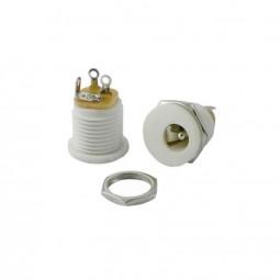 DC-Einbaubuchse weiß für Hohlstecker 2,1 x 5,5mm | Frontmontage einbau DC-Buchse